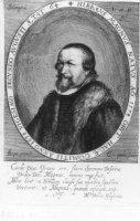 Portret van de theoloog Hibbaeus Magnus (1574-1638) met 4-regelig vers door M.H. Glaserus.
