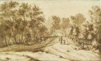 De Leidsestraatweg in het Haagse Bos op het punt waar zij samenkomt met de Benoordenhoutseweg (r.);  ...