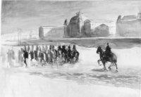 Cavaleristen op het strand; op de achtergrond m. het Kurhaus en rechts een fragment van het Grand H? ...