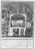 Het interieur van de Ridderzaal (Loterijzaal van 1726 tot 1855) met loterij-installatie tijdens een  ...