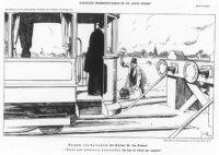 Spotprent over de opheffing van de staking onder het personeel van de Haagse Tramweg Maatschappij, 2 ...