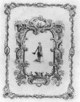 Portret van Deminière, ten voeten uit staande weergegeven, portret omlijst met randwerk van rocaill ...