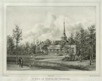 Het huis te Werve bij Voorburg. Gezicht op de villa die gezet is links van het in 1801 gesloopte kas ...
