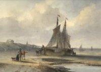 Twee bommen, met paarden ervoor, op het Scheveningse strand met links twee strandbezoekers met een hond en op de achtergrond links het paviljoen Von Wied; vervaardiger: Hoppenbrouwers, J.F.; 1850