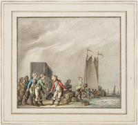 Spotprent op het vertrek van de Stadhouderlijke familie naar Engeland: Prinses Wilhelmina wordt aan  ...