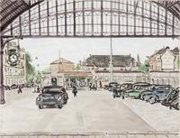 Een overkapping bij het station Staatsspoor aan de Rijnstraat met de rijwielstalling uitsluitend voo ...