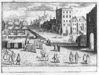 Een enigszins primitieve voorstelling van de Vijverberg met de gebouwen van het Binnenhof en geheel  ...