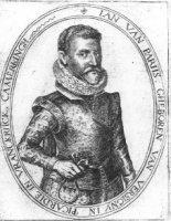 Portret van de kamerling Jan van Parijs (16e eeuw) in ovaal met randschrift.