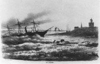 Het strand van Scheveningen tijdens zware storm van 28 mei 1860.
