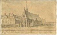 De St. Nicolaaskapel (de latere Vleeshal) aan de Dagelijkse Groenmarkt, op de hoek van de latere Gro ...