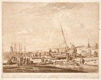 Het in zee brengen van een vissers pink te Scheveningen;