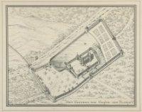 Vogelvlucht tekening van Binnen- en buitenhof t.t.v. Floris V, omgeven door duin en beek. De Grote Z ...