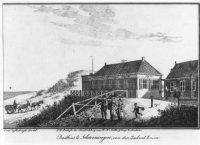 Het eerste (houten) badhuis van Jacob Pronk, dat van 1818-1820/1823 heeft gestaan ongeveer ter hoogt ...
