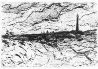 Een woelige zee, met rechts de kustlijn van Scheveningen, onderandere de Vuurtoren.
