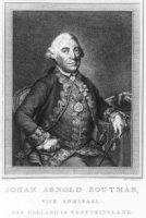 Portret van Johan Arnold Zoutman (1724-1793); zittend naast een tafel, stok in linkerhand; in rechth ...