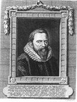 Portret van de staatsman Johan van Oldenbarnevelt (1547-1619) in kozijn en met 8-regelig vers door J ...