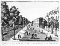 Een primitieve voorstelling van de Nieuwe Uitleg gezien naar de Houtweg; l. het Smidswater en r. de  ...