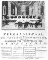 Vergadering van de commissie tot verbetering van rijmpsalmen in de vergaderzaal van het Mauritshuis  ...
