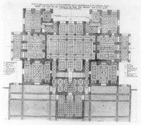 Plattegrond van het sousterrain van de Oranjezaal (Huis ten Bosch); met een schaalstok van 30 Rijnla ...