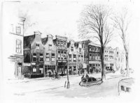 De Nieuwe Haven huisnrs.(v.l.n.r.) 68/70, poort naar 72-288, de huisnrs. 290-300, poort naar hofje T ...