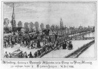 Aankomst der vijf Spaansche Ambassadeurs tot het Bestand op 1 februari 1608. Op de voorgrond begroet ...