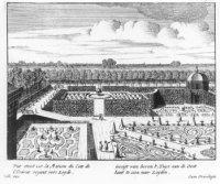 Het oostelijke groene cabinet in de tuin van de Oranjezaal, gezien vanaf het dak van het huis richti ...