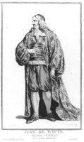Portret van Johan de Witt (1625-1672); in pofbroek en lange mantel; met calotje op; met 3- regelig f ...