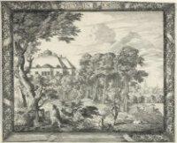 De Oranjezaal (kern van het latere paleis Huis ten Bosch) gezien van de zijde van Leiden. Op de acht ...