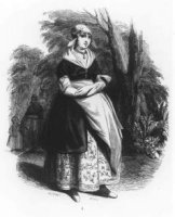 Negentiende-eeuwse Scheveningse visvrouw. Ze draagt een muts met lange klappen die nog niet opgeklap ...