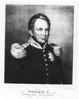 Portret van Willem I (1772-1843), koning der Nederlanden, borstbeeld, en face. De koning heeft kort  ...