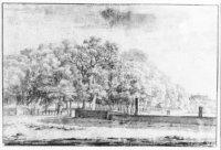 de Lange Vijverberg, gezien vanaf de Plaats; uiterst links de executieplaats Het Groene Zoodje; in h ...