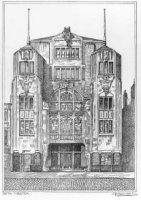De voorgevel van het Asta-theater, bioscoopgebouw aan het Spui.