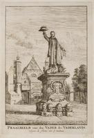 Praalbeeld voor den Vader des Vaderlands, volgens de schetse van J. Oudaan. Met op de achtergrond de ...