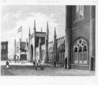 De Gotische Galerij, tussen 1842 en 1849 gebouwd tegenover paleis Noordeinde, waarvan l. nog een fra ...