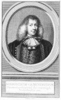 Portret van Hieronymus van Beverningk (1614-1690) met 3-regelig onderschrift waarin naam en functie. ...