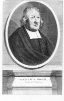 Portret in ovaal van de theoloog Cornelis Bosch (1634-1715) met 2-regelig Latijns onderschrift waari ...