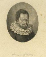 Portret van Simon Stevin (1548-1620) , wiskundige en werktuigbouwkundige.