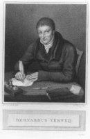 Portret van de theoloog Bernardus Verweij (1772-1835) met naamsonderschrift en zittend en schrijvend ...