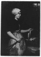 Negentiende-eeuwse Scheveningse dracht. Schevenings meisje; 'een speester' draagt mutsje, hoogeslote ...