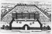 Perspectief van het Huis te Rijswijk met voorplein en achtertuin.
