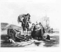 Negentiende-eeuws Schevenings strandtafereel. Op de voorgrond een zittende vissersvrouw, rechts van  ...