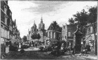 De Groenmarkt met op de achtergrond links van het midden het Stadhuis en de Grote of St. Jacobskerk  ...