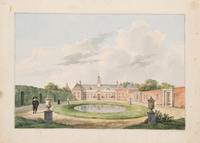 Twee wandelaars in de tuin van Zorgvliet en Catshuis