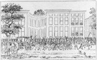 Het verjagen van de Patriotten en feestelijke ontvangst van Willem V op het korte Voorhout aan de Vo ...