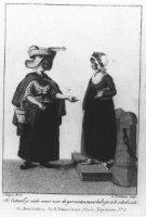 Negentiende-eeuwse Scheveningse dracht; Scheveningse visvrouw en Haags dienstmeisje. De visvrouw dra ...