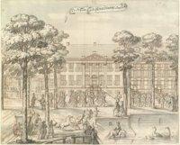 De Nieuwe of St. Sebastiaansdoelen op de Korte Vijverberg, hoek Toernooiveld (links). Blad 7 uit alb ...
