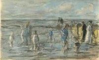 Een zevental pootjebaders aan het Scheveningse strand.