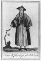 ''Femme de Schevelingen pres de la Haye'', achttiende eeuwse boerin in Scheveningse dracht. Op haar  ...