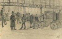 Rijtuigen en koetsiers wachtend onder de kap van het Station Hollands Spoor aan het Stationsplein.