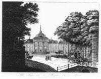 Een primitieve voorstelling van het paleis Huis ten Bosch.